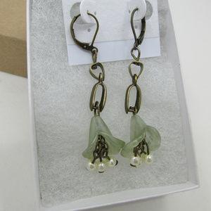 Rustic Brass Flower Earrings w/dangling pearls